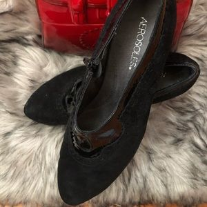Aerosoles Black Suede and Patent Shooties.